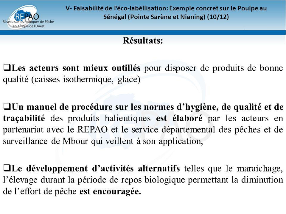 V- Faisabilité de l'éco-labéllisation: Exemple concret sur le Poulpe au Sénégal (Pointe Sarène et Nianing) (10/12)