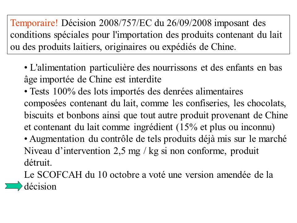Temporaire! Décision 2008/757/EC du 26/09/2008 imposant des conditions spéciales pour l importation des produits contenant du lait ou des produits laitiers, originaires ou expédiés de Chine.