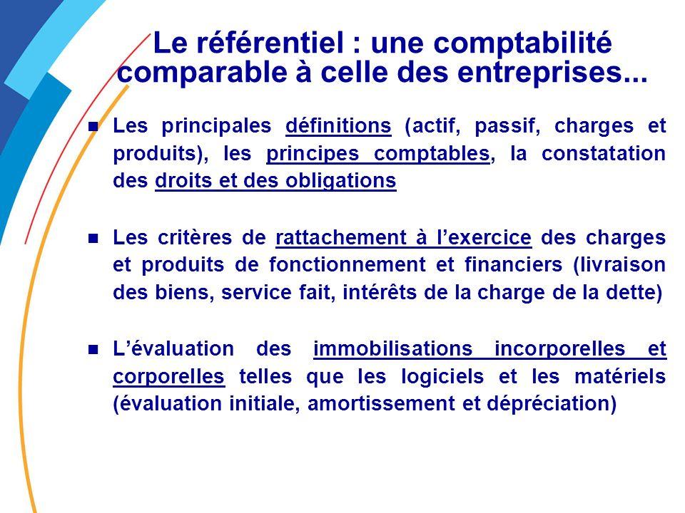 Le référentiel : une comptabilité comparable à celle des entreprises...
