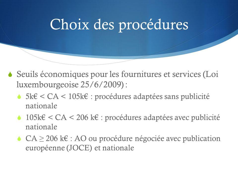 Choix des procédures Seuils économiques pour les fournitures et services (Loi luxembourgeoise 25/6/2009) :