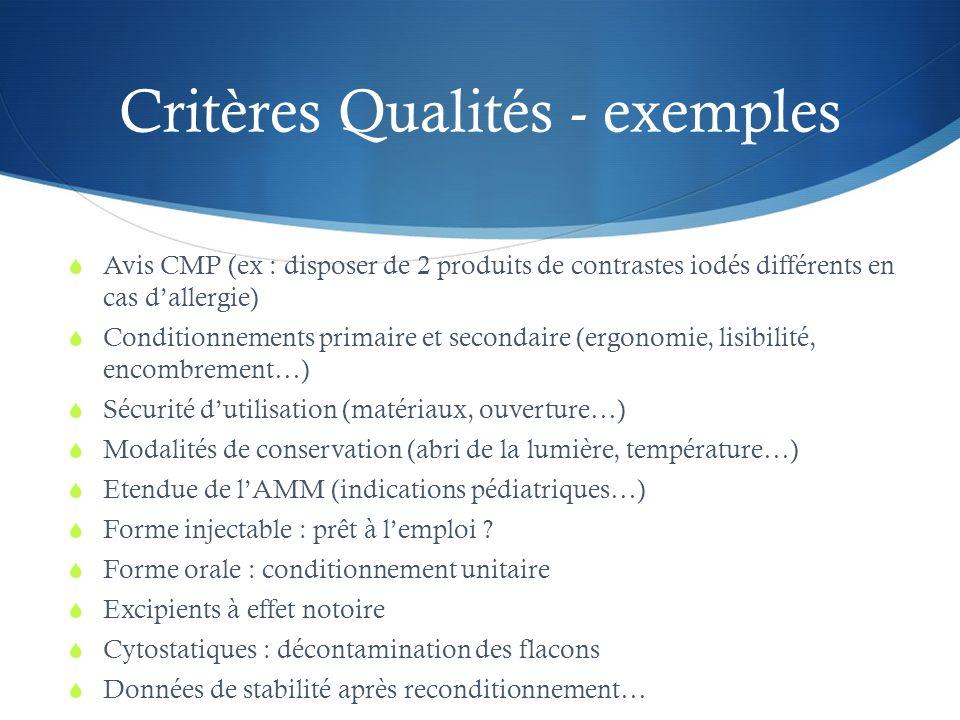 Critères Qualités - exemples