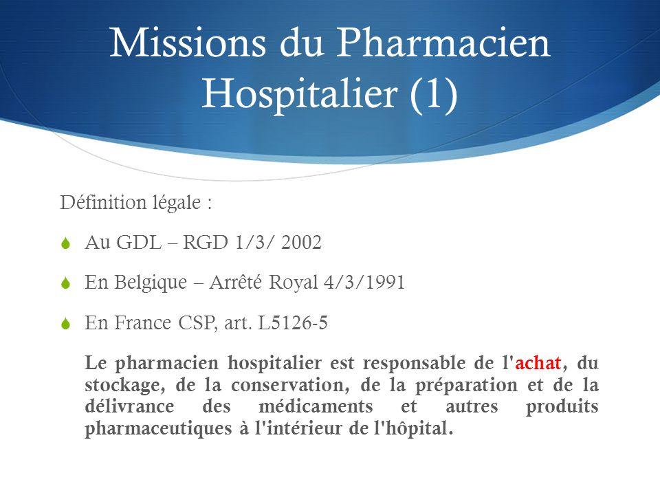Missions du Pharmacien Hospitalier (1)