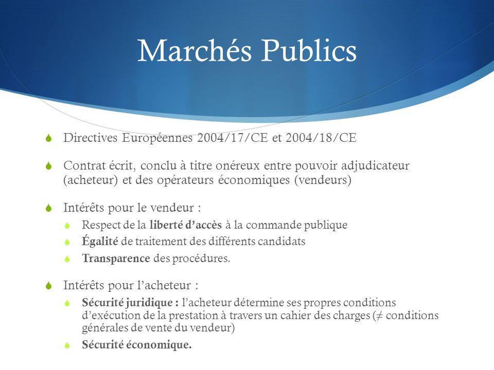 Marchés Publics Directives Européennes 2004/17/CE et 2004/18/CE