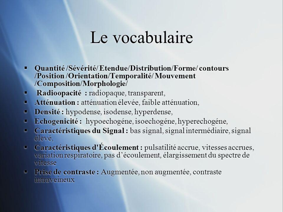 Le vocabulaireQuantité /Sévérité/ Etendue/Distribution/Forme/ contours /Position /Orientation/Temporalité/ Mouvement /Composition/Morphologie/