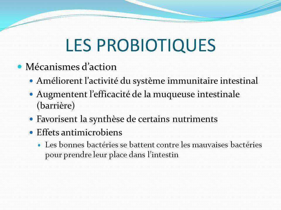 LES PROBIOTIQUES Mécanismes d'action