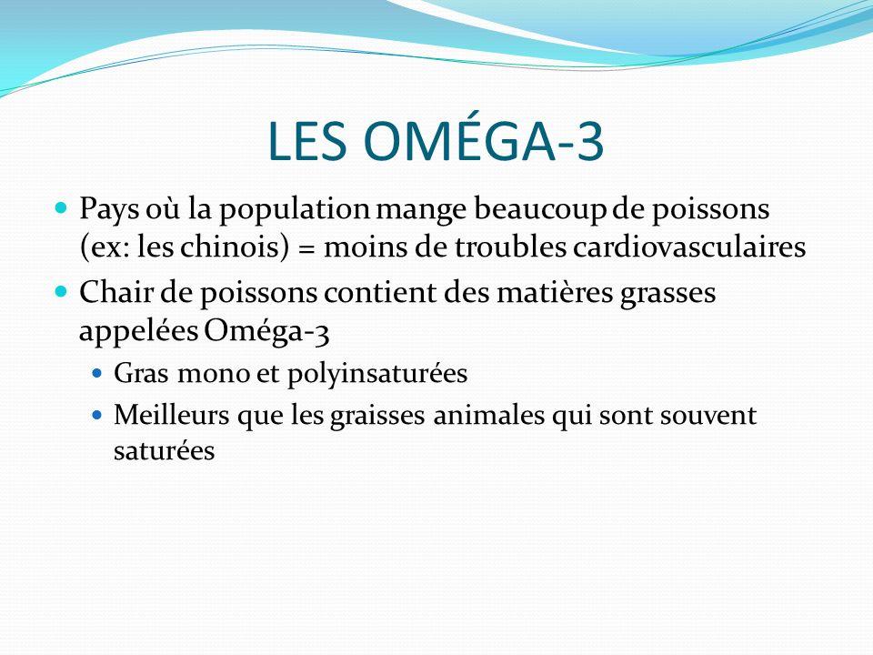 LES OMÉGA-3 Pays où la population mange beaucoup de poissons (ex: les chinois) = moins de troubles cardiovasculaires.