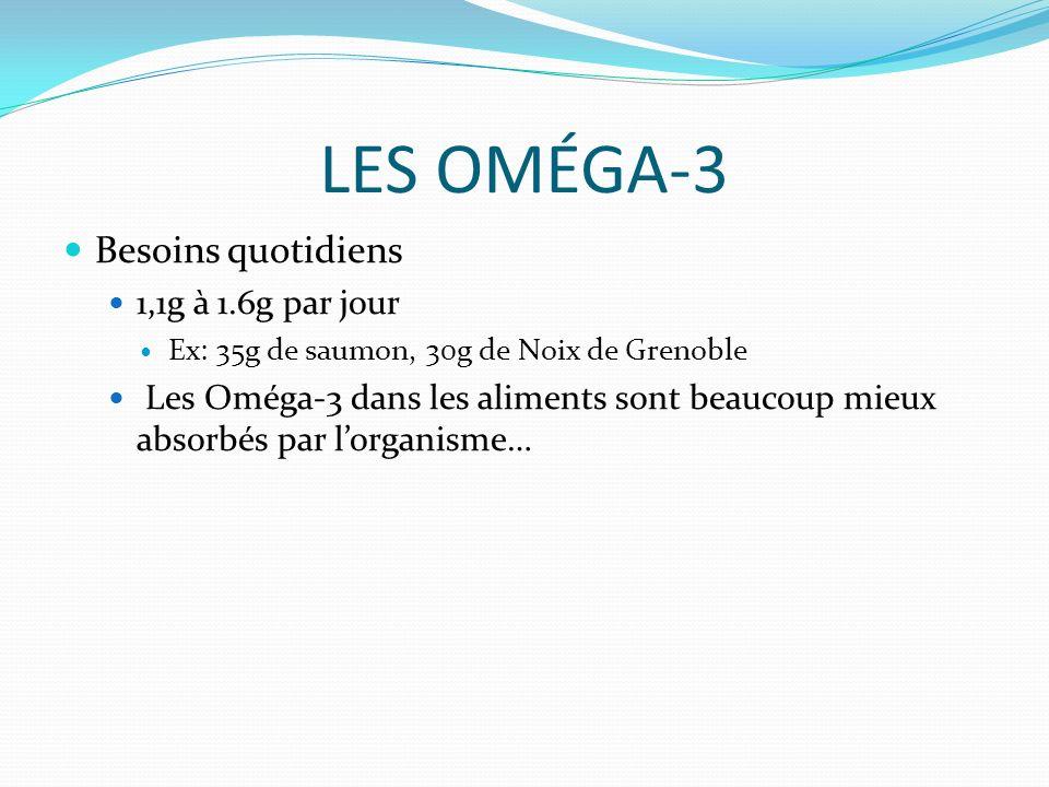 LES OMÉGA-3 Besoins quotidiens 1,1g à 1.6g par jour