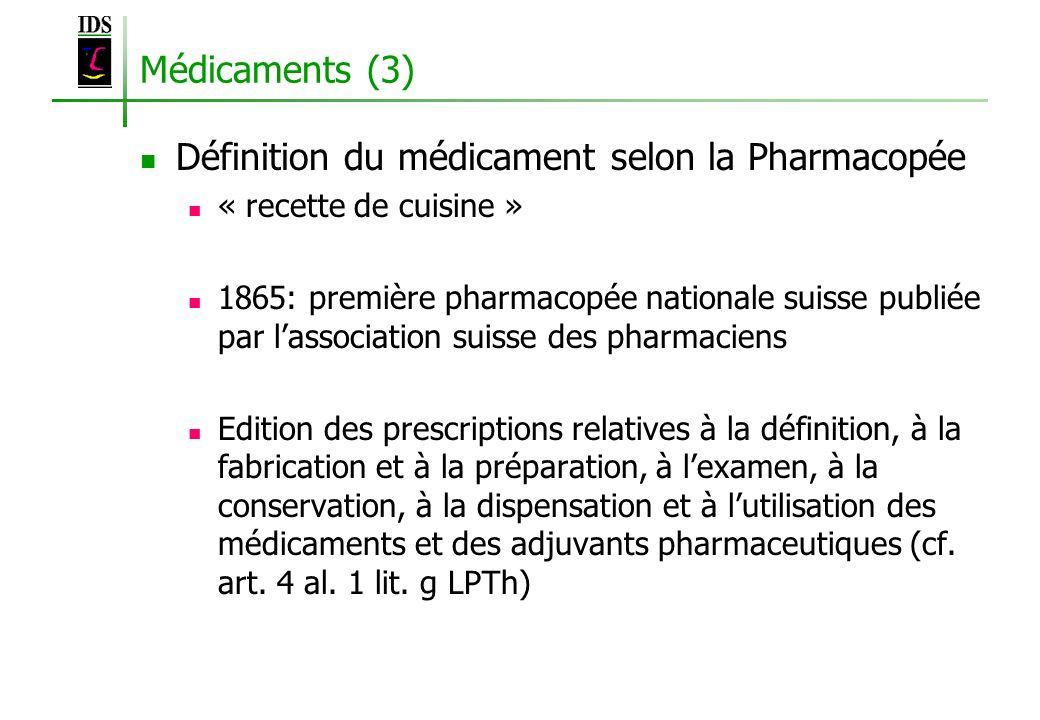 Définition du médicament selon la Pharmacopée