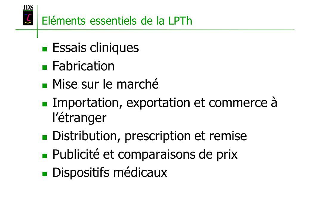 Eléments essentiels de la LPTh