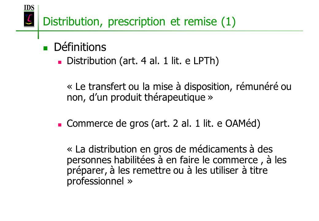 Distribution, prescription et remise (1)