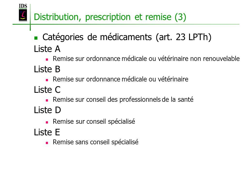 Distribution, prescription et remise (3)