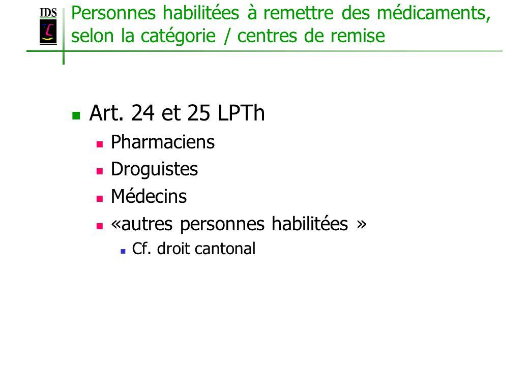 Personnes habilitées à remettre des médicaments, selon la catégorie / centres de remise