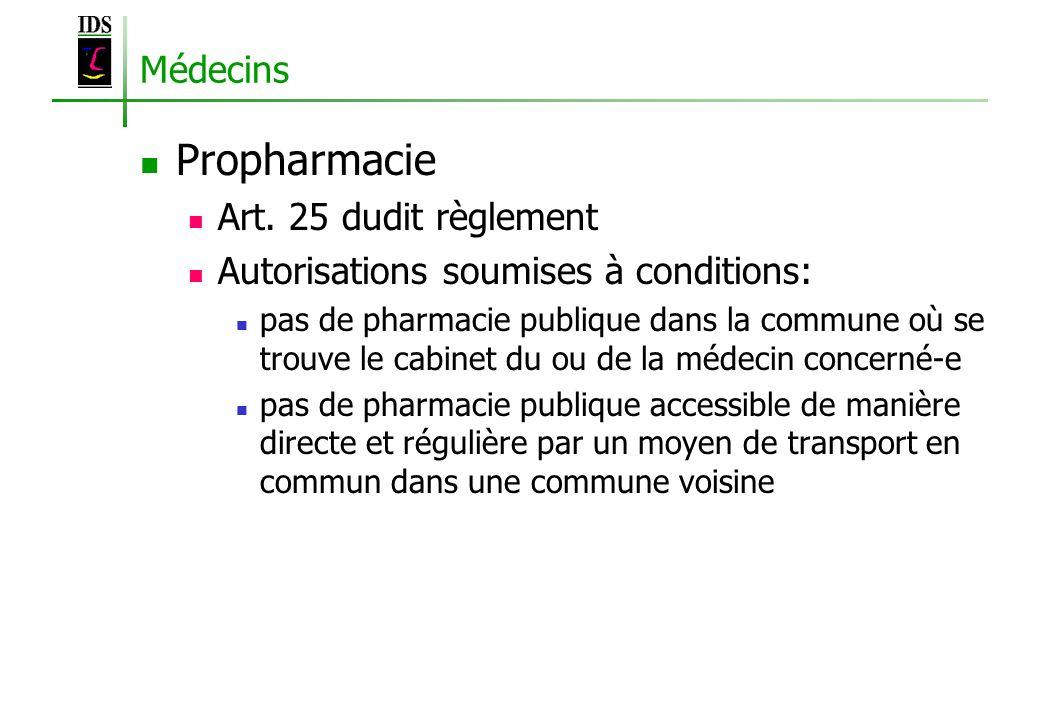 Propharmacie Médecins Art. 25 dudit règlement