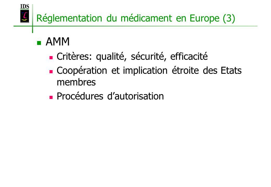 Réglementation du médicament en Europe (3)