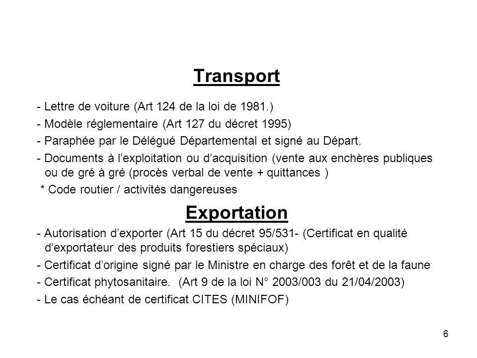 Transport Exportation