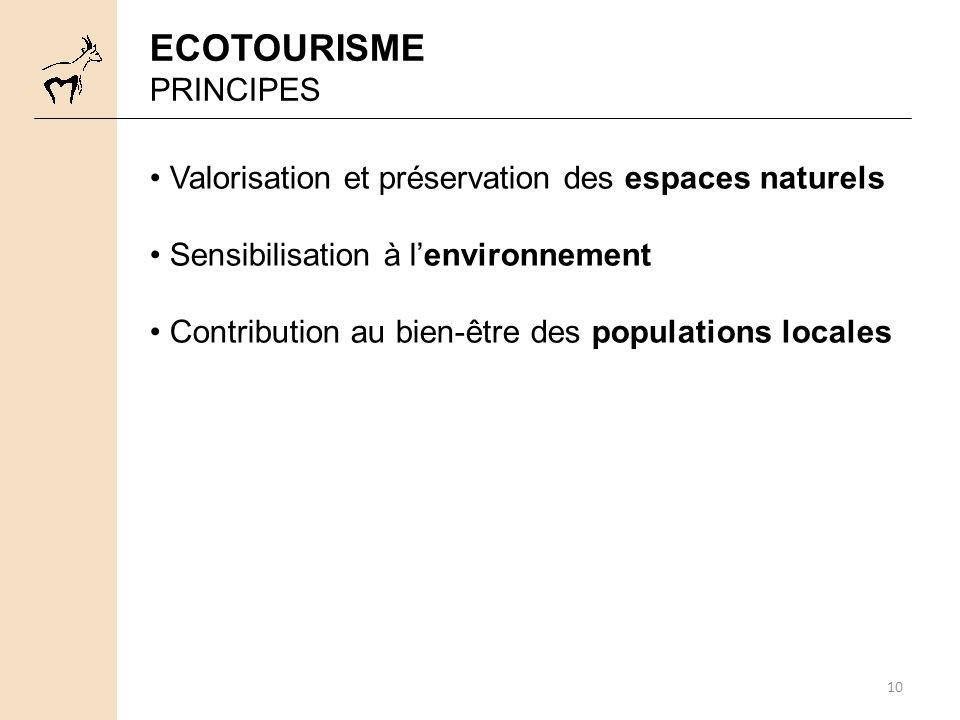 ECOTOURISME PRINCIPES