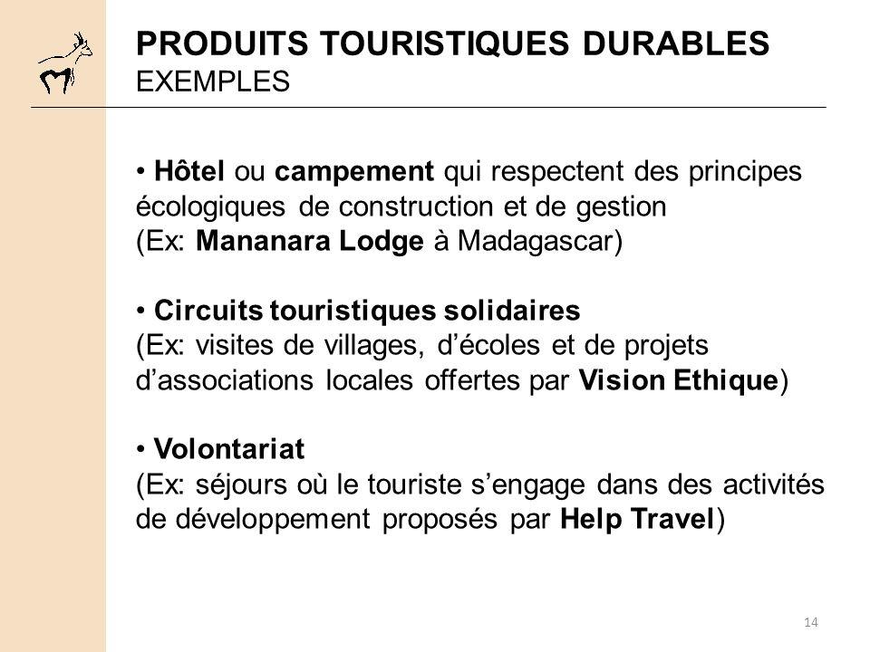 PRODUITS TOURISTIQUES DURABLES