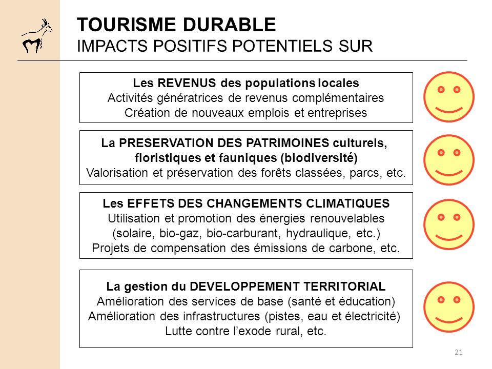 TOURISME DURABLE IMPACTS POSITIFS POTENTIELS SUR