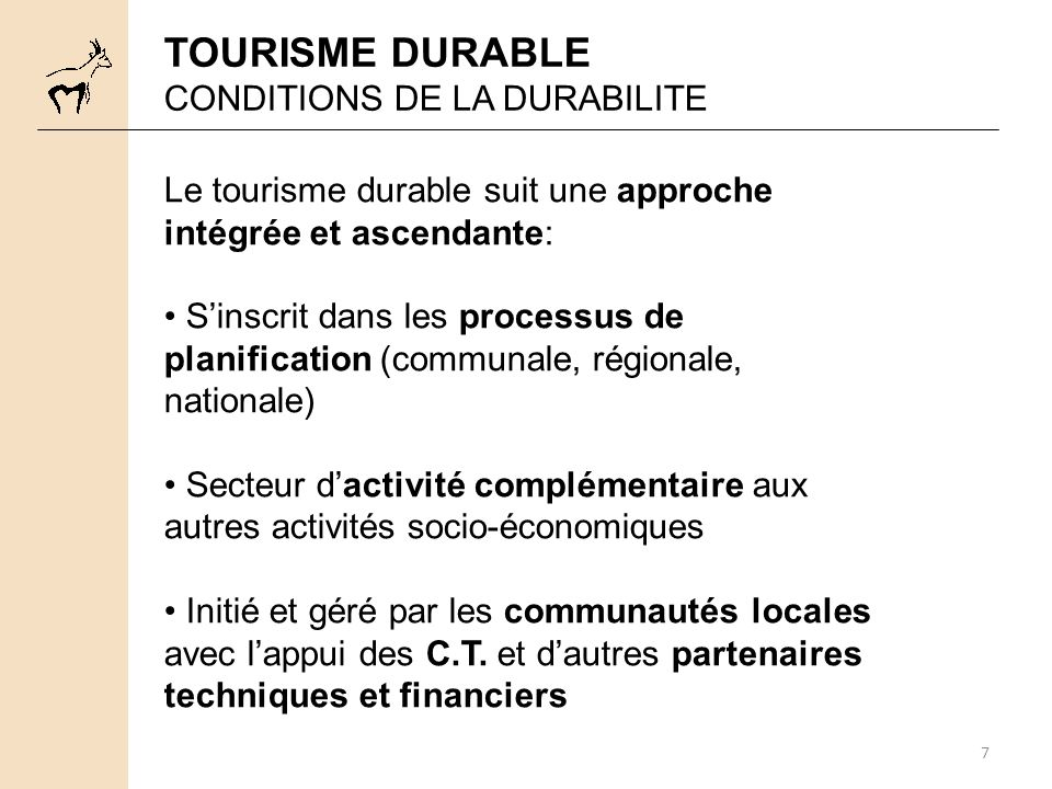 TOURISME DURABLE CONDITIONS DE LA DURABILITE