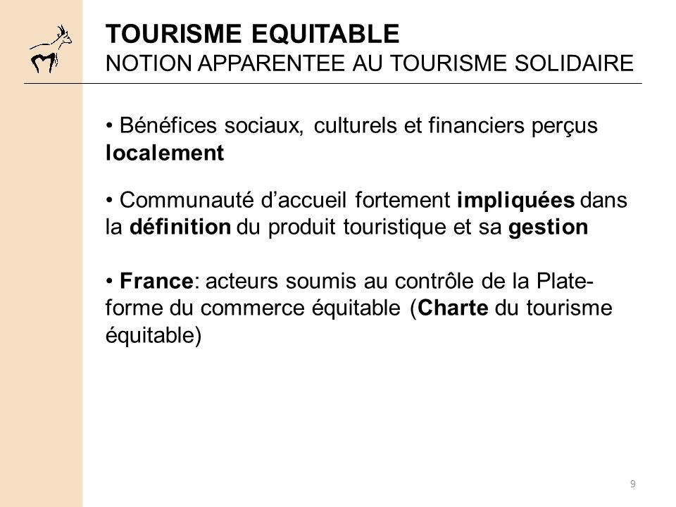 TOURISME EQUITABLE NOTION APPARENTEE AU TOURISME SOLIDAIRE