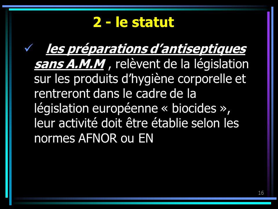 2 - le statut