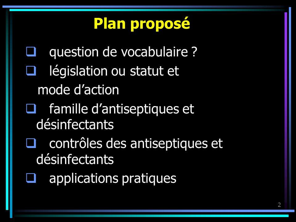 Plan proposé question de vocabulaire législation ou statut et