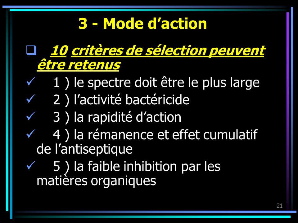 3 - Mode d'action 10 critères de sélection peuvent être retenus