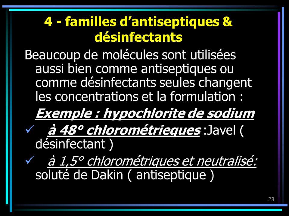4 - familles d'antiseptiques & désinfectants