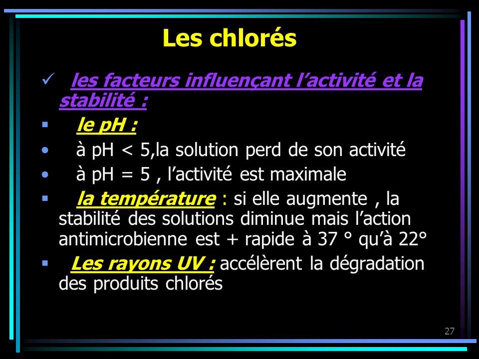 Les chlorés les facteurs influençant l'activité et la stabilité :