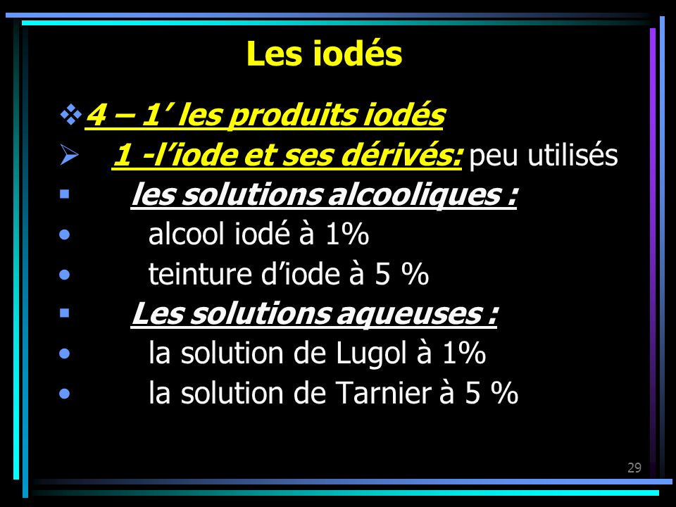 Les iodés 4 – 1' les produits iodés