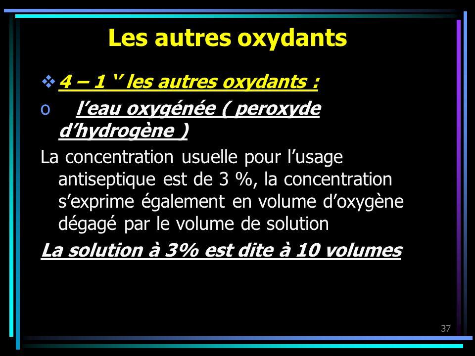 Les autres oxydants 4 – 1 '' les autres oxydants :