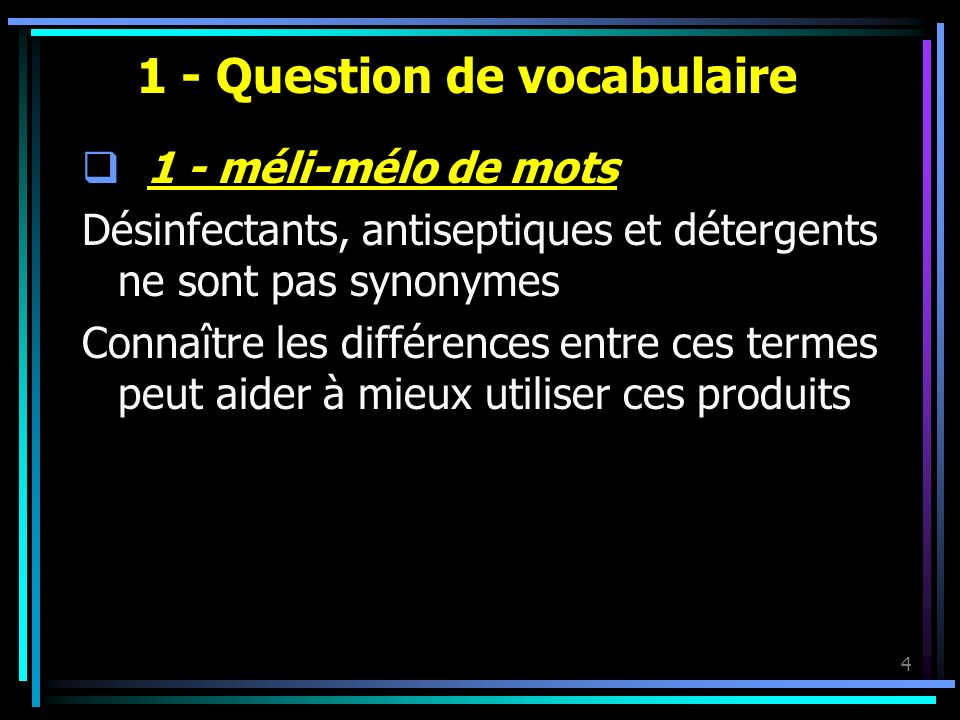 1 - Question de vocabulaire