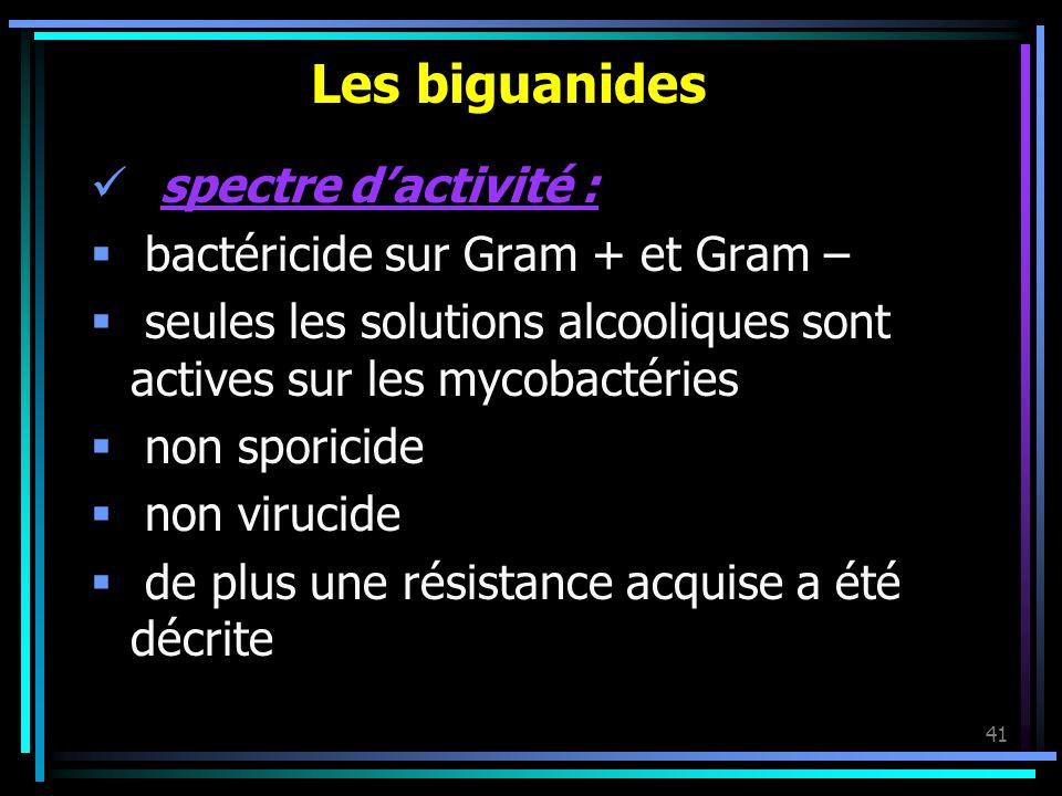Les biguanides spectre d'activité : bactéricide sur Gram + et Gram –
