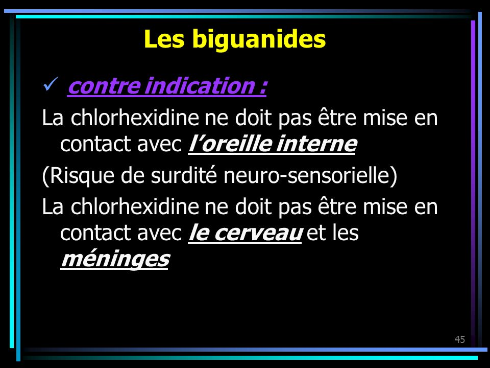 Les biguanides contre indication :
