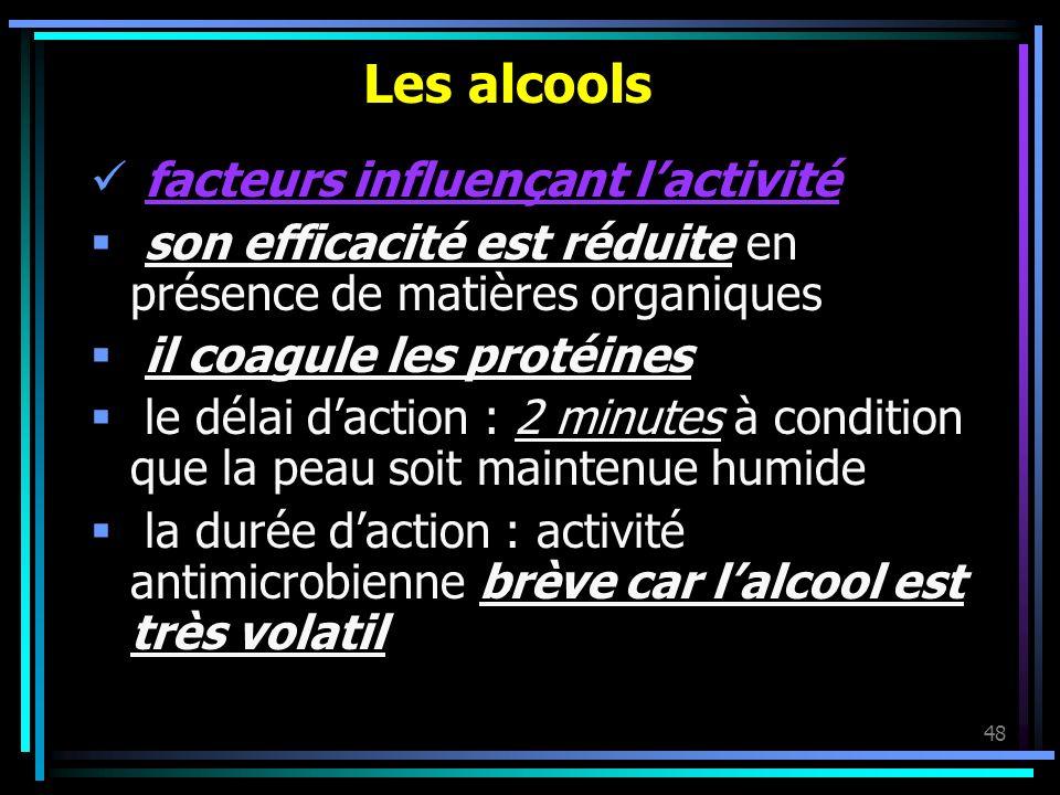 Les alcools facteurs influençant l'activité