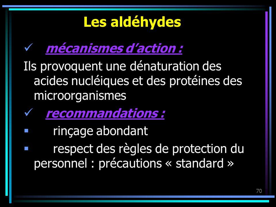 Les aldéhydes mécanismes d'action :