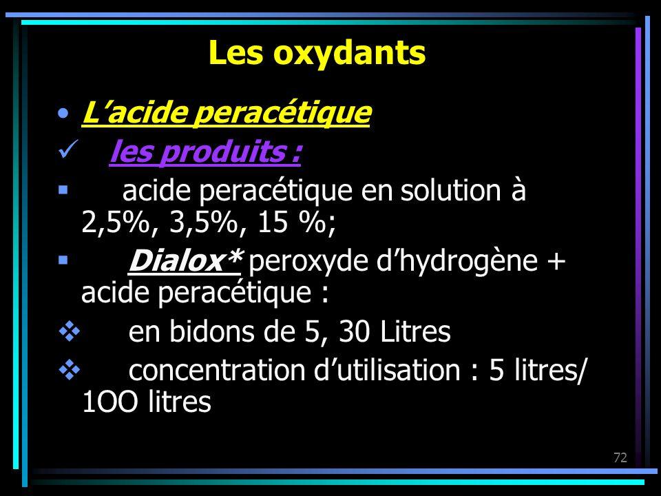 Les oxydants L'acide peracétique les produits :