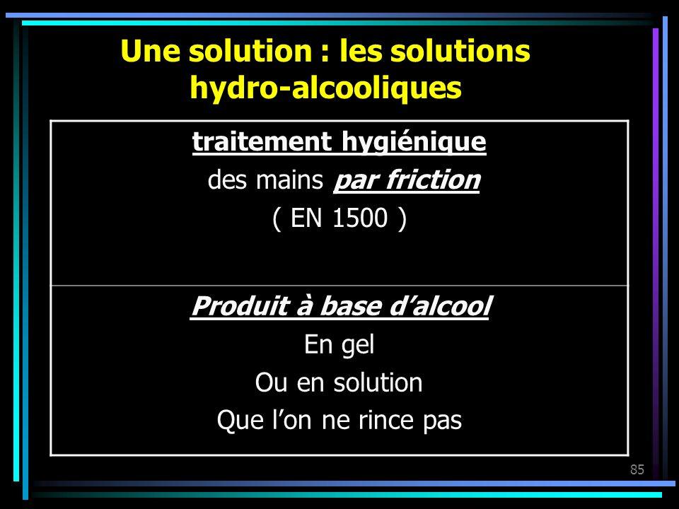 Une solution : les solutions hydro-alcooliques