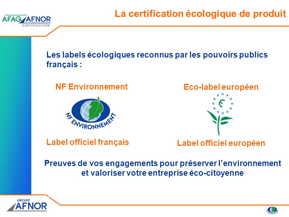 La certification écologique de produit