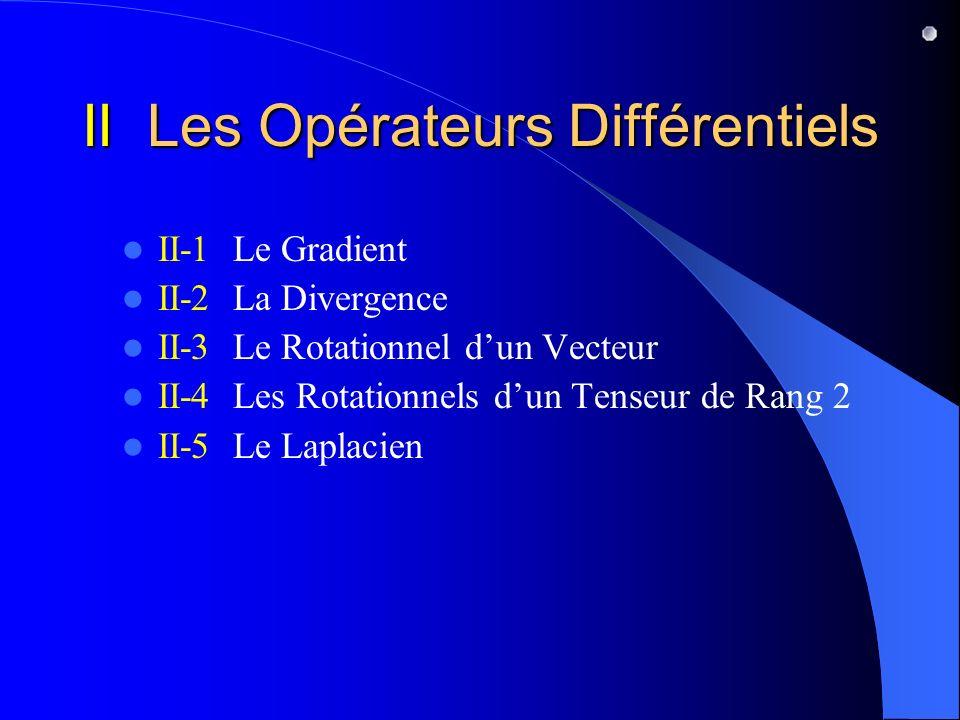 II Les Opérateurs Différentiels