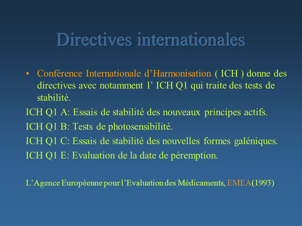 Directives internationales