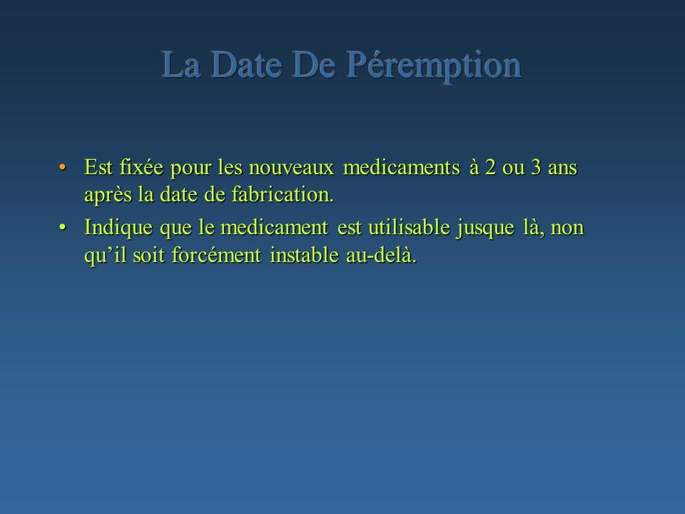 La Date De Péremption Est fixée pour les nouveaux medicaments à 2 ou 3 ans après la date de fabrication.