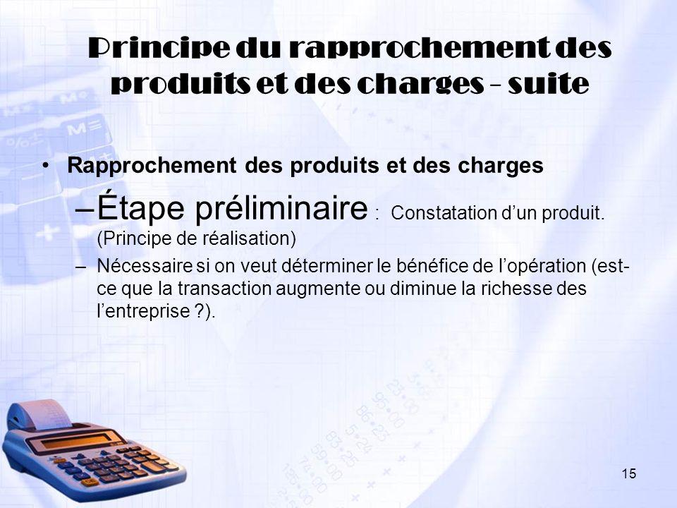 Principe du rapprochement des produits et des charges - suite
