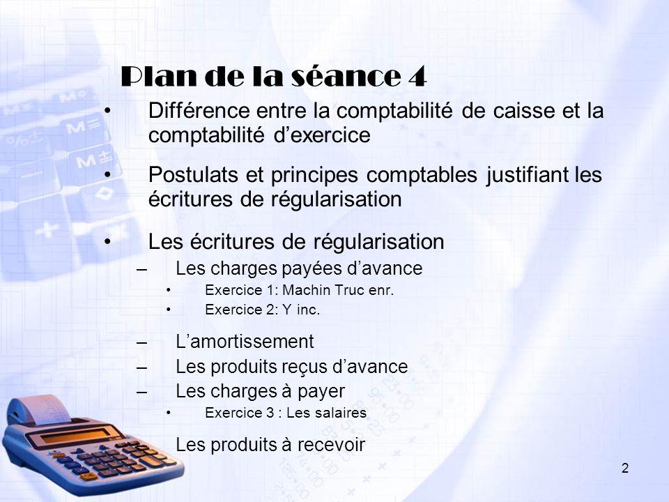 Plan de la séance 4 Différence entre la comptabilité de caisse et la comptabilité d'exercice.