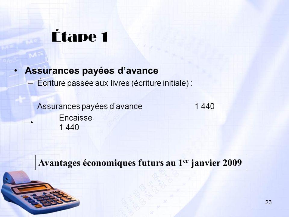 Étape 1 Assurances payées d'avance