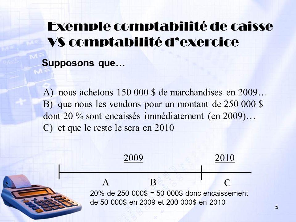 Exemple comptabilité de caisse VS comptabilité d'exercice