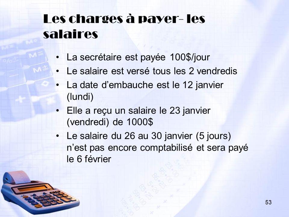 Les charges à payer- les salaires