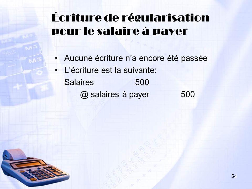 Écriture de régularisation pour le salaire à payer