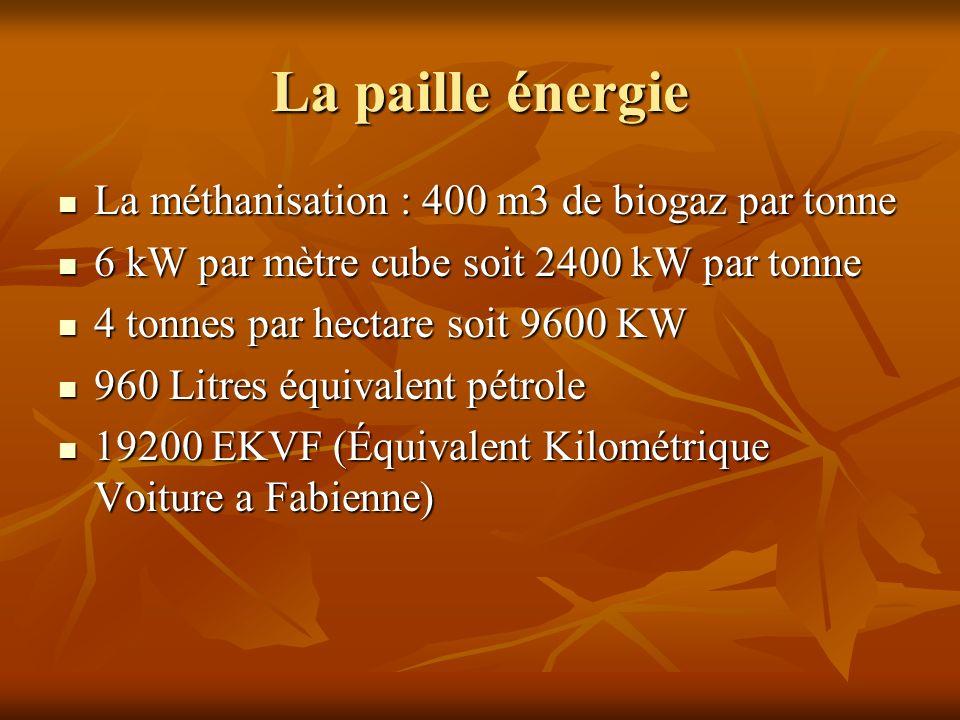 La paille énergie La méthanisation : 400 m3 de biogaz par tonne