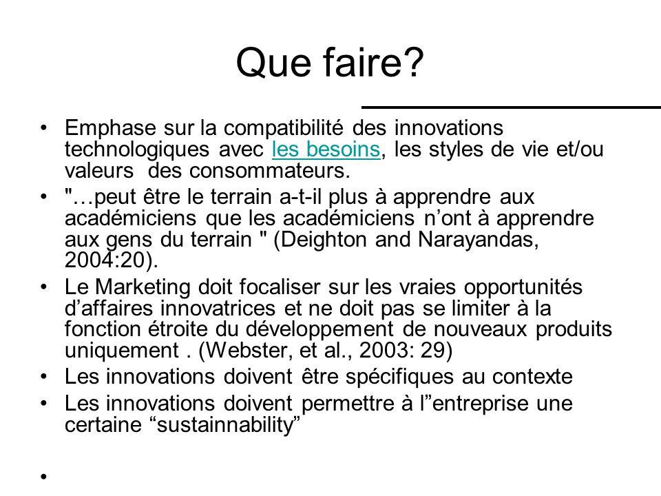 Que faire Emphase sur la compatibilité des innovations technologiques avec les besoins, les styles de vie et/ou valeurs des consommateurs.
